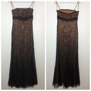 Badgley Mischka sequin lace black evening gown